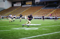 "Junior tight end Tren ""Buck"" Cowan with the ball during practice Wednesday. The Vandals will be playing Louisiana-Monroe for the University of Idaho Homecoming Game Saturdayat 2 p.m. in the Kibbie Dome."