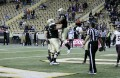 Senior running back Elijihaa Penny celebrates the first touchdown of the game against Texas State. The Vandals won 38-31 in their last game of the 2015 season.