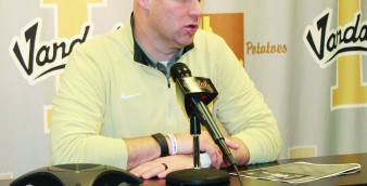 Idaho soccer coach Derek Pittman speaks at a press conference for signing day Wednesday.
